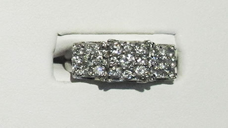 14 kt white gold ring beautiful ring with round brilliant diamonds in a 3 square style, approximately 1.25 carats.